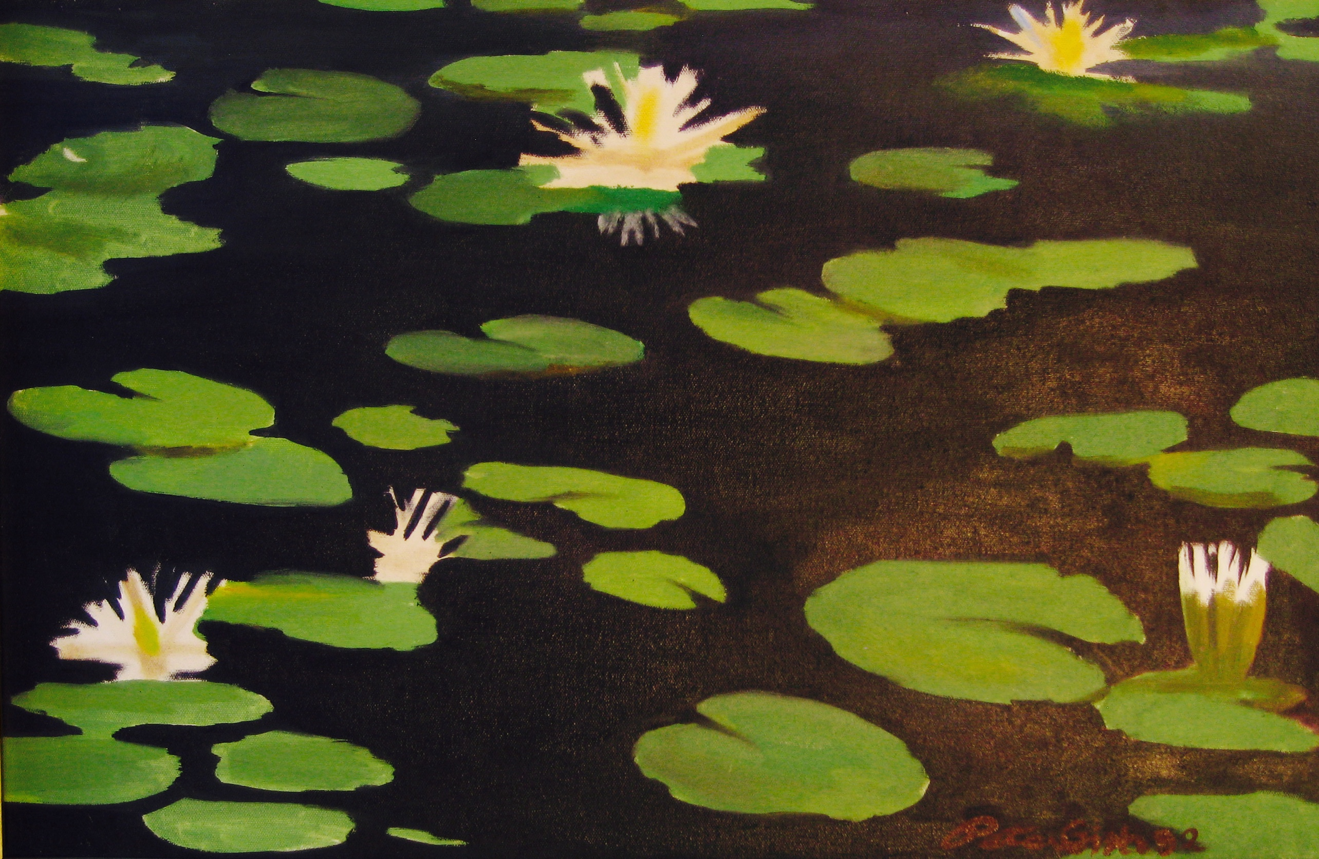 """Lilly Pads - Oil on Canvas, 18"""" x 26"""""""